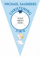 Personalised Boys Christening Baptism Flag PHOTO Banner Bunting - N3